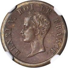 "FRANCE HENRI V ""PRETENDER"" 1833 1/2 FRANC BRONZE COIN CERTIFIED NGC MS1-BN"