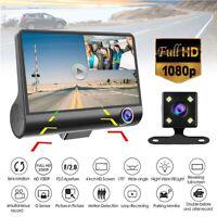 4'' 1080P HD 170° Dual Lens Car DVR Dash Cam G-sensor Rearview Camera