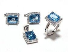 925 Sterling Silver Faceted Blue Topaz & Cz Gem Stones 4 Piece Sets Jewelery