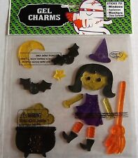 Halloween Window Gel  WITCH WITH CAULDRON,BROOM,BATS