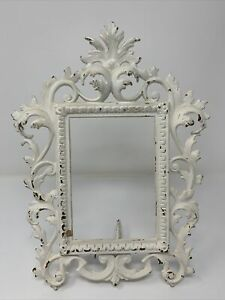 Vintage Antique White Metal Picture Frame No Glass