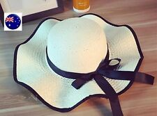 Women Lady BOHO Wide Big Brim Creamy white Beach Straw Floppy with bow Sun Hat
