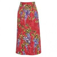 DOLCE & GABBANA wisteria patterned skirt floral print red mini high waisted 36