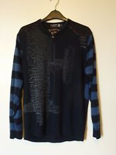 Aemape Apple manga larga mezcla de lana suéter Jumper Tamaño Mediano Nuevo Negro/Azul