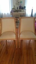 Vintage Victorian Side Chairs With Swan Head Carvings. Light Oak.