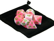 New 7 Piece Polyhedral Blend Pink White Dice Set With Dice Bag D&D RPG