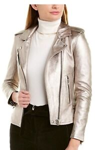 IRO Han Leather Jacket Golden Brown/Silver Size FR 42