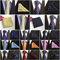 Mens Classic Floral Polka Dots Necktie Pocket Square Lot Ties Handkerchief Set