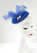 Blue Silver Ivory Pearl Pillbox Hat Fascinator Headpiece Races Vintage 1940s B91
