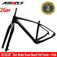 "26er Carbon Fat Bike Mtb Frame Snow Beach Bicycle Frame Fit 5.0"" Tires 16/18/20"""