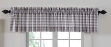 "Classic Gray & Antique White Buffalo Check Cotton Window Valance 16"" x 72"""
