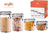 Food Storage containers canister set of 4 Air Tight Canisters with lids Kryllic.