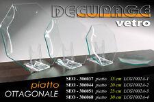 PIATTO OTTAGONALE IN VETRO DECOUPAGE DA DECORARE 20 CM HOBBY CREATIVI SEO-306044