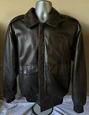 The Orvis Company Fly Fishing Schools Leather Jacket Size Medium Bomber Jacket