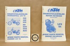 1994 KTM 350 400 620 SX EXC EGS RXC Engine Chassis Part List Diagram Manual Lot