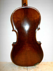 Vintage Old Antique Mid/Late 1800s 2 Pc. Curly Maple Back Full Size Violin - NR