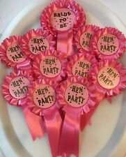 10 Mini Hen Party Rosettes & 1 Bride To Be large 2 Tier Rosette FREE POSTAGE
