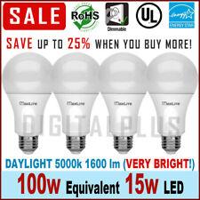 4 Bulbs LED Maxlite 15W Daylight 5000K A19 E26 Base 100W Replacement LED Bulb