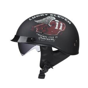Crazy WORLD'S SMALLEST LIGHTEST Bikers Flat Black Half Helmet Gear Motorcycle