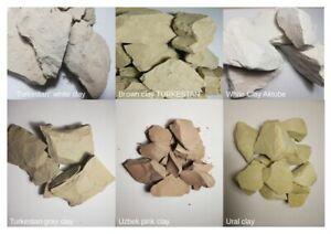 Set !Turkestan White, Gray, Brown Clay, White Aktobe, Ural Clay, Uzbek Pink Clay