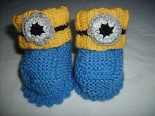 Minion ispirato Baby Bootie Calzini-HAND Knitted Own Design