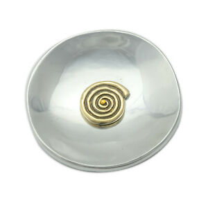 Decorative Metal Plate, Spiral Design Handmade Solid Aluminum & Brass, Diam 13cm