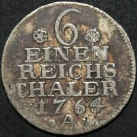 1764 A | German States Prussia 1/6 Thaler | Silver | Coins | KM Coins