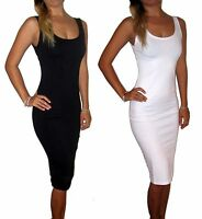 WOMENS LADIES BODYCON BLACK MIDI DRESS KNEE UK SIZE 8 10 12 14 16 18 20 22 PLUS