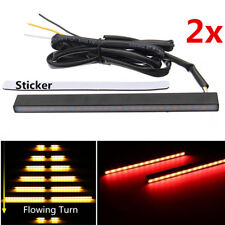 Amber+Red Car Sequential Flowing LED Turn Signal Strip + Brake Light w/ Sticker