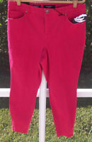 NINE WEST RED COLORED CURVY COTTON SKINNY MID-RISE 16W 18W 22W - 31 JEANS NEW