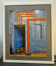 16x20 Original Photograph of Doorway, Orange and Blue, with Frame