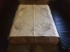 Vintage Square White Table Cloth With Stitched Flower Baskets!!