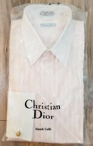 NIP Vintage CHRISTIAN DIOR PINK STRIPED DRESS SHIRT w/ FRENCH CUFFS 15.5 x 34