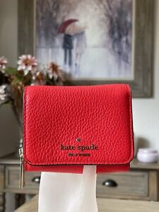 Kate Spade Leila Small Leather Trifold Continental Wallet in Geranium Coral Pink