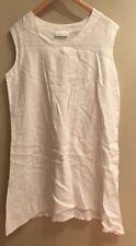 BRYN WALKER  WOMENS WHITE 100% LINEN SLEEVELESS DRESS L  NWOT