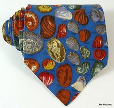Seashell Silk Tie Blue Necktie Made in Italy