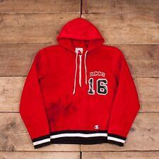 """Mens Vintage Champion 1960s Red Talon Hooded Jumper Sweatshirt Medium 38"""" R8182"""