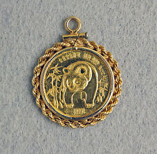 1986 1/10 oz Gold Chinese Panda Coin Pendant 14K Rope Bezel Charm China Yuan