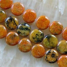 14mm Yellow Azurite Chrysocolla coins Gems Loose Beads 15''AAA ##02