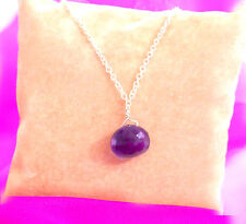 "amethyst necklace sterling silver gemstone briolette onion 18"" 45cm rare grape"