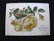 Victorian Greeting Card Antique Printed Silk New Year Floral Yellow Rose Flowers