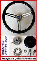 "Chevelle Camaro Nova Impala GRANT Black Steering Wheel 15"" Blue Bowtie Cap"