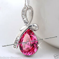 LOVE Gifts For Her Pink Crystal Necklace Wife Mum Daughter Xmas Stocking Filler