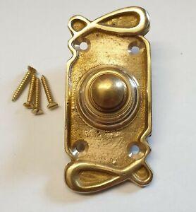 Solid Brass Antique Art Nouveau 2 / Victorian Style Retro Bell Push Door Button