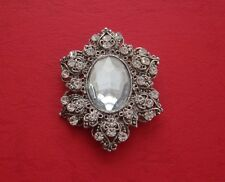Vintage Victorian Brooch with Clear Crystal and Rhinestone P6425