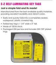 Car Dealer Key Tags, Yellow Self Laminating (from E-Z Line)