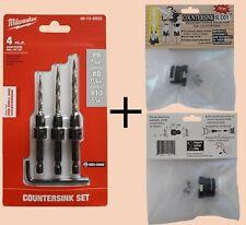 MIlwaukee countersink drill bit set Bundle with No-Mar Adjustable Depth Stop.