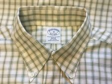 """[240] BROOKS BROTHERS EST1818 SLIM FIT  WHITE AND GREEN MEN""""S SHIRT SIZE M"""
