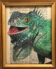Vintage 1950s Dictionary Reptile Art Print  Collectible Green Iguana Picture