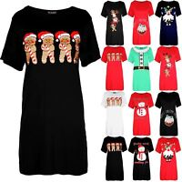 Womens Ladies Baggy Oversized Gingerbread Hat Candy Xmas Christmas T Shirt Dress